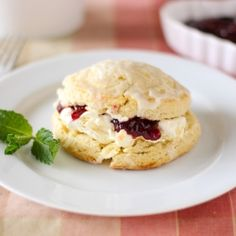 Afternoon tea, anyone? Almond #Scones with Raspberry Jam and Clotted Cream
