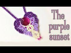 Macrame pendant tutorial: The purple sunset - YouTube