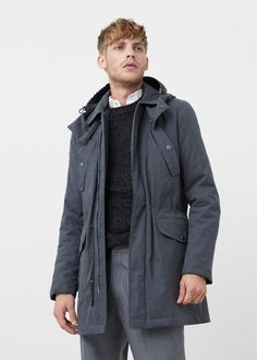 Detachable hood quilted parka | MANGO MAN