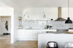 marble splashbacks and work top. My Scandianavian Home.