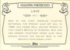 2011 Topps Allen & Ginter - Floating Fortresses #FF11 Lave Back