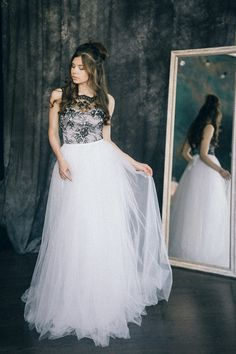 Black and white bohemian wedding dress Hannah by LiluBridal