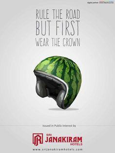 Rule the road but first wear the crown issued in public interest by Srijanakiram Hotels  #srijanakiram #socialmessage #wear_helmet