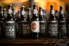 Anna and Spencer Photography, Atlanta Wedding Photographers. Custom Home Brewed Beer & Beer Cozies as Wedding Favors.