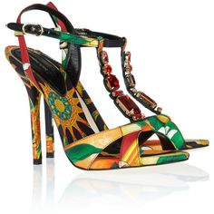 Dolce & Gabbana Crystal-embellished printed satin-twill sandals ($440) ❤ liked on Polyvore featuring shoes, sandals, heels, d&g, dolce & gabbana, yellow, ankle wrap sandals, yellow high heel shoes, t strap high heel sandals and yellow sandals