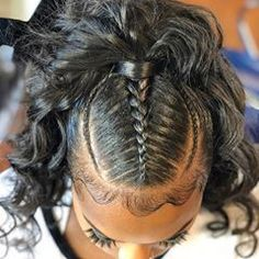 # Braids with weave mohawk 35 Wavy Ponytail, Weave Ponytail Hairstyles, Girl Hairstyles, Black Hairstyles, Ponytail With Weave, Low Ponytails, Kids Hairstyle, Stylish Hairstyles, School Hairstyles