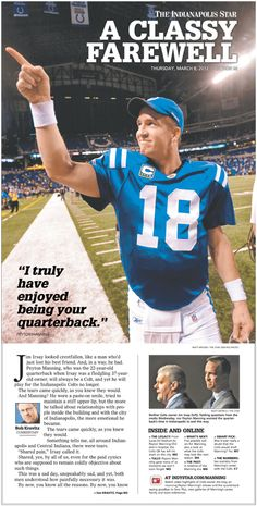 Peyton Manning is released from the Colts: A Classy Farewell cover from Indy Star James Marketing Consultants Denver Broncos Football, Football Baby, Football Season, Broncos Stadium, Tennessee Football, Pittsburgh Steelers, College Football, Dallas Cowboys, Peyton Manning Colts