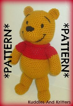 PATTERN ONLY  Crochet Winnie the Pooh by KuddlesAndKritters, $5.95