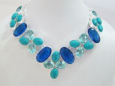 Necklace with Genuine Turquoise,Crystal & Blue Quartz. Starting at $1 on Tophatter.com!