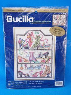 2000 Bucilla Antique Shoe Collection Counted X Cross Stitch 42640 New FreeShip #Bucilla #Frame