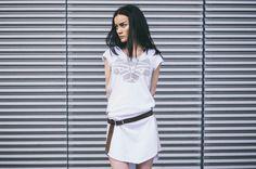 CUB lookbook spring/summer 2014 #polishfashion #fashion #cub #cub_wear #summer #cotton #natural #wild #grey #black #withe #girl #concrete #industrial #look #city #dress #free #warior #wolf #logo #tunic