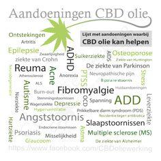 Lijst met aandoeningen waarbij CBD olie kan helpen  #CBD #CBDolie #Cannabidiol