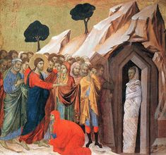 Duccio di Buoninsegna, Raising of Lazarus (scene Tempera on wood, 44 x 46 cm, Kimbell Art Museum, Fort Worth Duccio Di Buoninsegna, Raising Of Lazarus, Color Symbolism, Principles Of Design, Philadelphia Museum Of Art, Italian Painters, Holy Week, Oil Painting Reproductions, Fashion Painting