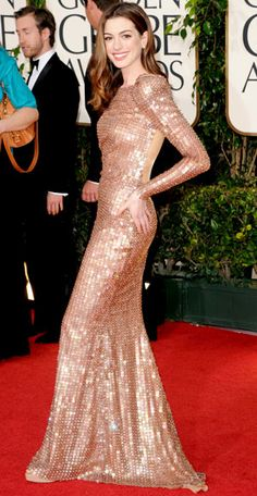 The Golden Globe Gowns We Love - Anne Hathaway, 2011 from #InStyle