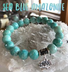 Gorgeous Sea Blue Amazonite. So hard to find this quality and color in this size stone. Sterling silver 3D lotus charm included OR charm of your choice. This gemstone helps you to see both sides of a problem or different points of view. It is an extremely soothing stone which helps to soothe emotional trauma and alleviates worry and fear. This amazing crystal dispels negative energy and aggravation. It assists in manifesting universal love. zen jewelz | ZenJen | Amazonite