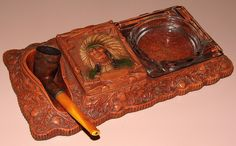 Vintage Multi Products, Inc. Indian & Oak Leaf Pattern Syrocco (aka Fake Wood) Smoking Stand, Includes Pipe Rest, Cigarette Holder And Ashtray, Made In USA, Circa 1940s.