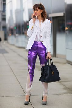 New York  Monika Chiang jacket and shoes, Prabal Gurung pants, Yves Saint Laurent bag