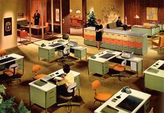 Vintage 60s Office Decor. Advertisement photograph for Steelcase. 1964.