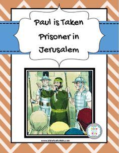 Paul is taken prisoner in Jerusalem lesson, printables & more #Biblefun