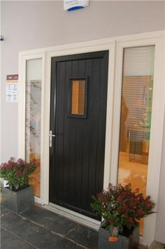 Modern Windows And Front Doors Ideas Black Front Doors, Front Doors With Windows, Composite Door, External Doors, Beauty Room, Door Ideas, Porch Ideas, Being A Landlord, Home Improvement Projects