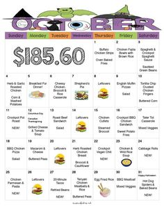 Whats For Dinner 31 Days of Delicious No Repeat KidFriendly Dinners To Cook in October for 185 with FREE Printable WEEKLY Grocery Lists and Recipes Moms Bistro Monthly Meal Planning, Family Meal Planning, Budget Meal Planning, Meal Planner, Weekly Meal Plan Family, Family Dinner Menu Ideas, Family Food Budget, Dinner Recipes, Weekly Dinner Plan