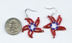 Patriotic Beaded Star Earrings  - Red, White, Blue Stars 4th of July USA $4.25