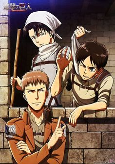 I have a scroll with this picture / shingeki no kyojin (Attack on Titan)----Levi, Eren, Jean