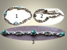 Silver Tone Reef Knot Link Bracelet with 8x6mm Bezel Set Cabochons in Three Varieties by SaraJewelryDesign on Etsy