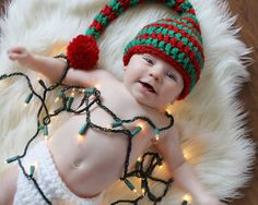 #made in barrington, #elf crochet hat, #christmas crochet hat, #baby crochet hat, #crochet photo prop, #christmas photoprop, #annadusekcreations