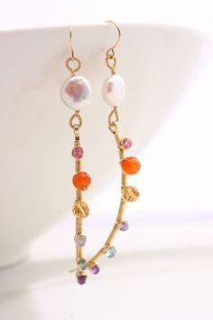 Gemstone Stick Earrings  Coin Pearl Pink by PrincessTingTing