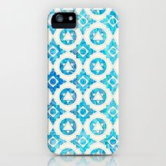 Aqua Blue & Off White Geometric Pattern iPhone & iPod Case!