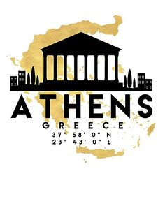 Typography Word Art ♥ silhouette skyline of the city of ATHENS with a map of the country of GREECE Greece Map, Athens Greece, Travel Icon, Travel Logo, Athens Map, Athens City, Map Coordinates, Skyline Silhouette, Silhouette City