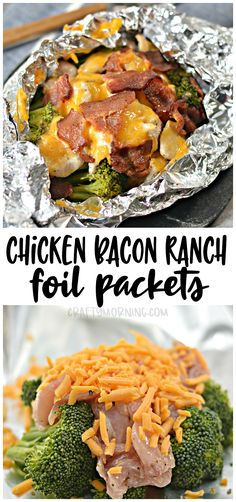 Make some chicken bacon ranch foil packets! These are so easy and fast to make for a dinner idea Chicken breasts, bacon, cheese, and brocolli yum! Easy dinner idea for kids and families Aluminum fo is part of Chicken bacon ranch - Frango Bacon, Plats Healthy, Cena Keto, Foil Pack Meals, Tin Foil Dinners, Foil Packet Dinners, Chicken Bacon Ranch, Chicken And Brocolli, Chicken Bacon Casserole