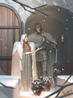 My Secret Santa gift for ♥ Post-canon AU of the Queen in the North and her captain of the guards (with fat puppies everywhere). Merry Christmas and Happy Holidays~! Game Of Thrones Show, Game Of Thrones Westeros, Fat Puppies, Character Inspiration, Character Art, Medieval Knight, Secret Santa Gifts, Sansa, Fire And Ice