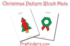 These Christmas pattern block mats are a fun way for kids to learn while they play. Pattern blocks teach children about shapes and geometry. Christmas Math, Preschool Christmas, Preschool Math, Noel Christmas, Christmas Themes, Kindergarten Math, Xmas, Preschool Themes, Christmas Crafts