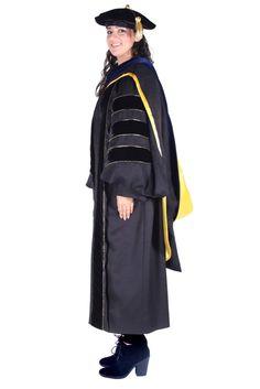 Premium PhD Black Gown, Cap, & Hood Regalia Set