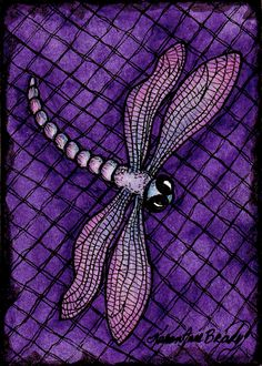 """Purple Dragonfly"" an Open Edition ACEO Art Print by Karen Anne Brady"