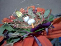 Bird's Nest ♥♥ made from petals, leaves, wire and cotton! The birdies eggs made from cotton and nest from soft wire.  Its best out of waste and cutee too!