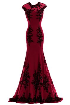 Sunvary Chiffon and Appliques Mermaid Mother of the Bride Dress Prom Gowns US Size 2- Burgundy