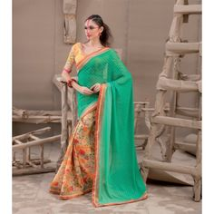 Buy Online Designer Sarees, shari, Ethnic sarees, Orange and Sea Green Color, Georgette Material, Saree, sari, partywear, kitty partywear, casual wear for women. We have large range of Designer Georgette Sarees in our website with the best pricing and unique designs shipping to (UK, USA, India, Germany, UAE, Canada, Singapore, Australia, Mauritius, New Zealand) world wide.