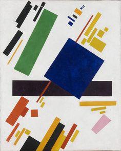 Construtivismo: Kasímir Maliévitch, composição suprematista, 1915. Na imagem é usado elementos de cores luminosas e formas geométricas.