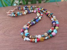 Double Strand Rainbow Stone Necklace  Copper  by inbloomdesigns