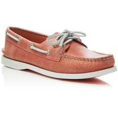 Sperry A/O 2-Eye White Cap Boat Shoes ($99) ❤ liked