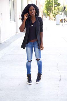 Style Pantry   Boyfriend Blazer + Distressed Tank + Ripped Jeans