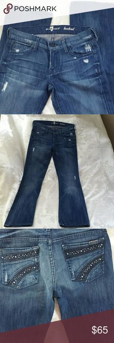 7 For All Mankind # distressed boot cut Beautiful jeans, size 26 distressed throughout.  Crystal details on back pockets.  89%cotton 11% poly.  Front button with zip fly closure. 7 For All Mankind Jeans Boot Cut