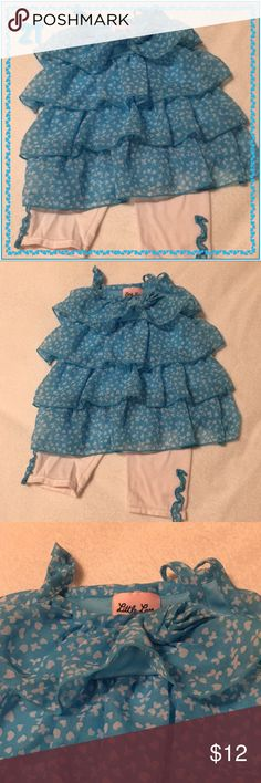 Teal Ruffle Butterfly and Heart Set 2T Little Lass teal sleeveless ruffle top with white butterfly and heart pattern. Comes with white pants with a ruffle of the top pattern on each ankle. Like new. Little Lass Matching Sets