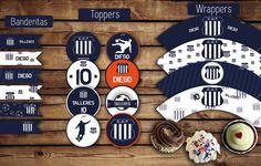 Banderitas para adorno. #Toppers (circulos) para usar con palitos brochette. Etiquetas (#wrappers) para #cupcakes  #talleres #azul #futbol #kitvaron #kitcumple