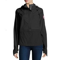 Canada Goose Brunswick Hooded Colorblock Anorak Jacket ($545) ❤ liked on Polyvore featuring outerwear, jackets, black jacket, anorak jacket, black parka jacket, slim fit jacket and hooded bomber jacket