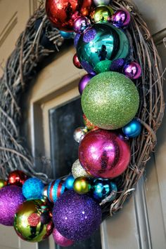 Paint foam balls of different sizes from a craft store and glue them into a wreath. Great idea for Christmas.