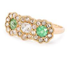 A Difference: Edwardian Diamond & Demantoid Ring